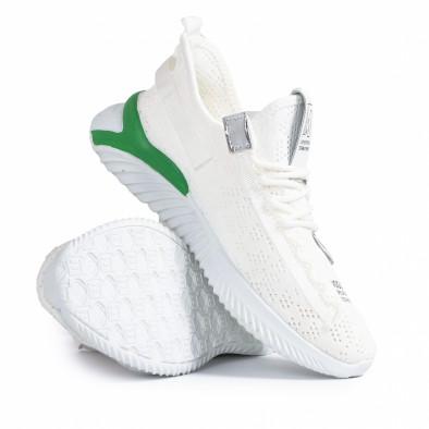 Ανδρικά λευκά sneakers με πρασινή λεπτομέρεια gr020221-4 5