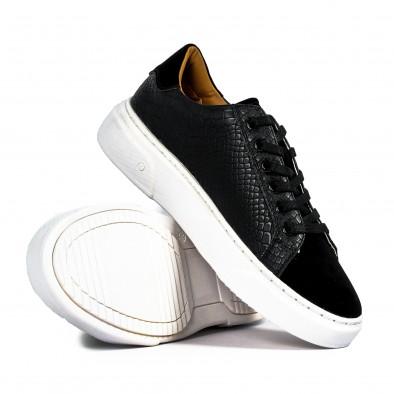 Ανδρικά μαύρα sneakers με Shagreen design it300920-58 3