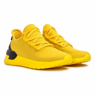 Ανδρικά κίτρινα sneakers κάλτσα Lace detail it260620-12 3
