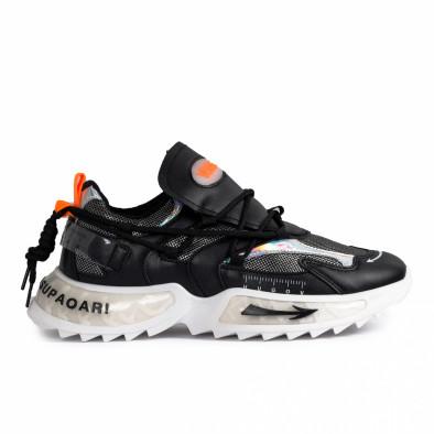 Chunky ανδρικά μαύρα sneakers gr020221-12 2