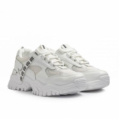 Γυναικεία λευκά Chunky sneakers με δίχτυ it110221-11 3
