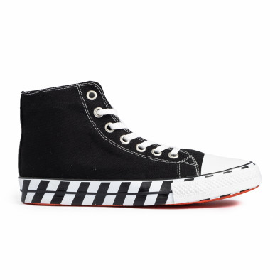 Ανδρικά μαύρα ψηλά sneakers με πριντ tr260820-1 2
