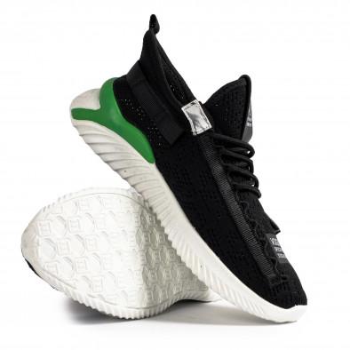 Ανδρικά μαύρα sneakers με πρασινή λεπτομέρεια gr020221-5 5