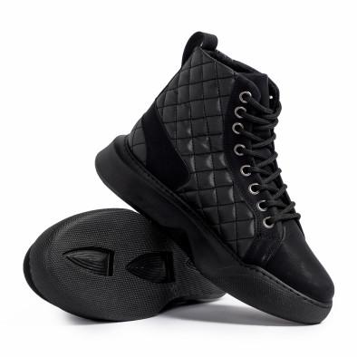 Ανδρικά μαύρα ψηλά sneakers με καπιτονέ tr221220-1 4