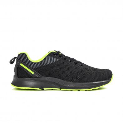 Ανδρικά μαύρα και νέον αθλητικά παπούτσι it270320-20 2