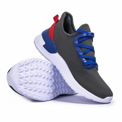 Ανδρικά γκρι sneakers κάλτσα Lace detail it260620-10 4