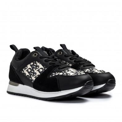 Γυναικεία μαύρα sneakers σε συνδυασμό υλικών it110221-12 3