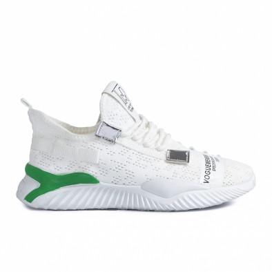 Ανδρικά λευκά sneakers με πρασινή λεπτομέρεια gr020221-4 2