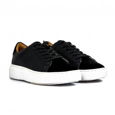 Ανδρικά μαύρα sneakers με Shagreen design it300920-58 4