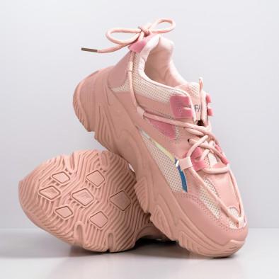 Γυναικεία ροζ Chunky sneakers με δίχτυ it110221-8 3