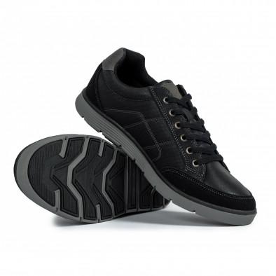 Ανδρικά μαύρα sneakers με γκρι λεπτομέρειες it300920-54 5