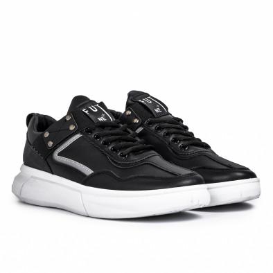 Ανδρικά μαύρα sneakers με λάστιχο it081020-2 3