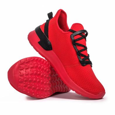 Ανδρικά κόκκινα sneakers κάλτσα Lace detail it260620-11 4