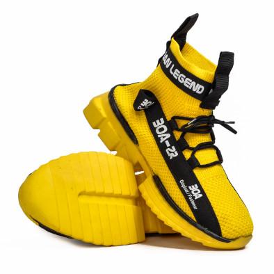 Ανδρικά κίτρινα ψηλά sneakers Boa tr260221-3 4