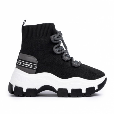 Γυναικεία μαύρα sneakers μποτάκια κάλτσα tr231020-2 2