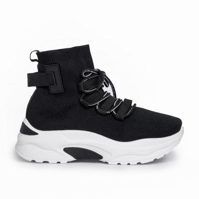 Γυναικεία μαύρα ψηλά sneakers κάλτσα it161220-15 2