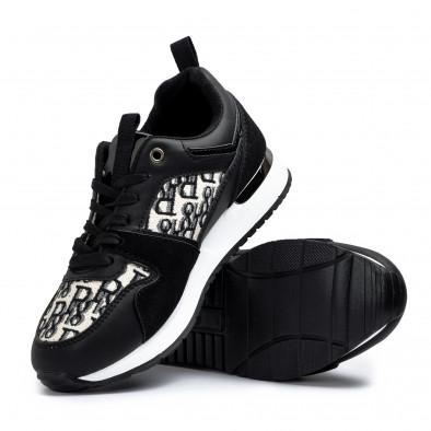 Γυναικεία μαύρα sneakers σε συνδυασμό υλικών it110221-12 4