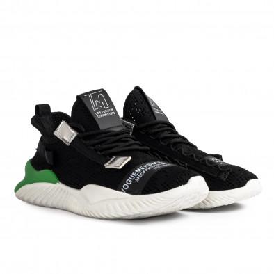 Ανδρικά μαύρα sneakers με πρασινή λεπτομέρεια gr020221-5 4