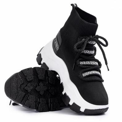 Γυναικεία μαύρα sneakers μποτάκια κάλτσα tr231020-1 4
