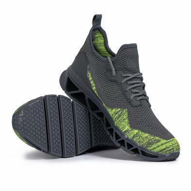 Ανδρικά γκρι-πράσινα αθλητικά παπούτσια Knife it140720-12 4