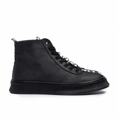 Ανδρικά ψηλά μαύρα sneakers tr181120-2 3