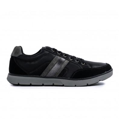 Ανδρικά μαύρα sneakers με γκρι λεπτομέρειες it300920-54 3