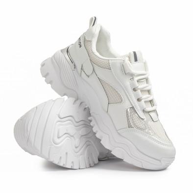 Γυναικεία λευκά Chunky sneakers με δίχτυ it110221-11 4