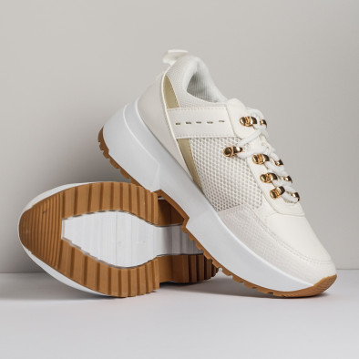 Sneakers με συνδυασμό υλικών σε λευκό χρώμα it280820-11 3