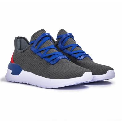 Ανδρικά γκρι sneakers κάλτσα Lace detail it260620-10 3