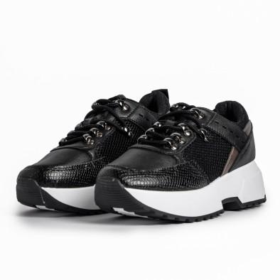 Sneakers με συνδυασμό υλικών σε μαύρο χρώμα it280820-10 3