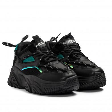 Γυναικεία μαύρα Chunky sneakers με δίχτυ it110221-9 3