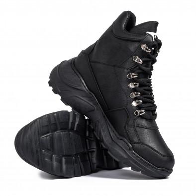 Ανδρικά μαύρα sneakers Trekking design tr131120-3 4