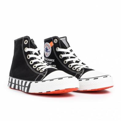 Ανδρικά μαύρα ψηλά sneakers με πριντ tr260820-1 3