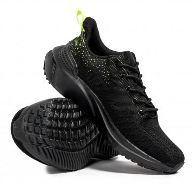 Ανδρικά μαύρα sneakers σε υφή it090321-7 4