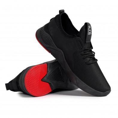 Ανδρικά μαύρα sneakers με κόκκινη λεπτομέρεια gr020221-1 5