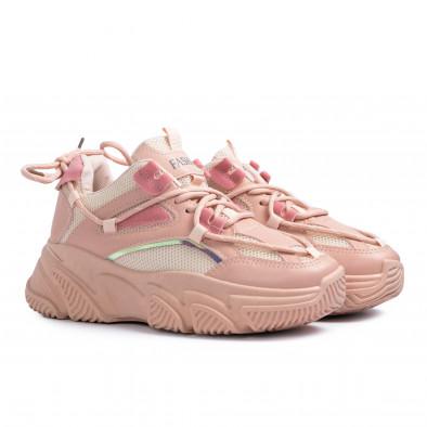 Γυναικεία ροζ Chunky sneakers με δίχτυ it110221-8 4
