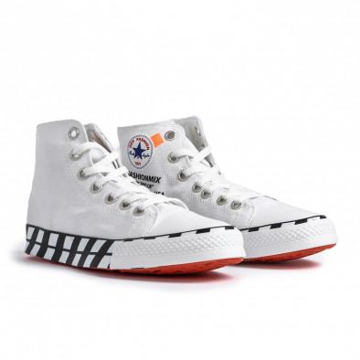 Ανδρικά λευκά ψηλά sneakers με πριντ tr260820-2 3