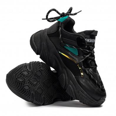 Γυναικεία μαύρα Chunky sneakers με δίχτυ it110221-9 4