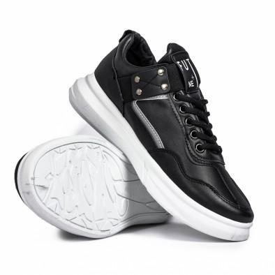 Ανδρικά μαύρα sneakers με λάστιχο it081020-2 4