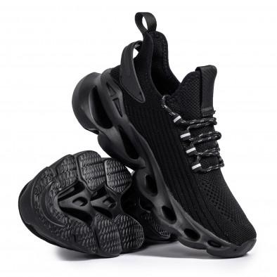 Ανδρικά All black αθλητικά παπούτσια σε υφή it261020-4 4