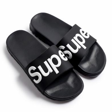 Ανδρικές μαύρες σαγιονάρες Super it260620-3 2