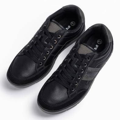Ανδρικά μαύρα sneakers με γκρι λεπτομέρειες it300920-54 4