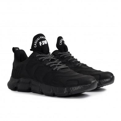 Ανδρικά μαύρα sneakers Plus Size gr020221-17 4