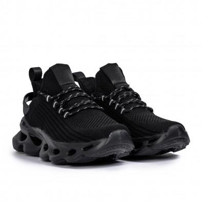 Ανδρικά All black αθλητικά παπούτσια σε υφή it261020-4 3