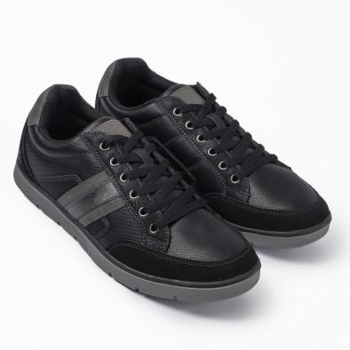 Ανδρικά μαύρα sneakers με γκρι λεπτομέρειες it300920-54 2