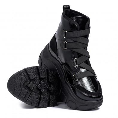 Chunky γυναικεία μαύρα αθλητικά μποτάκια tr201120-2 4