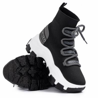 Γυναικεία μαύρα sneakers μποτάκια κάλτσα tr231020-2 4