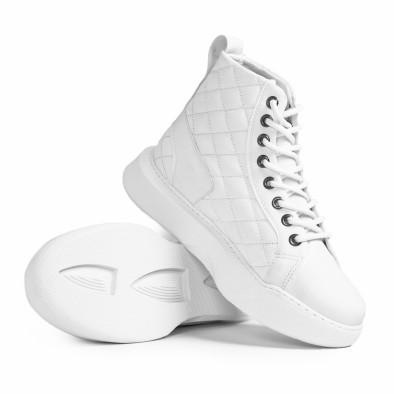 Ανδρικά All white ψηλά sneakers με καπιτονέ tr050121-3 4