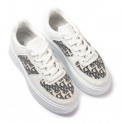 Γυναικεία λευκά sneakers με πλατφορμα it110221-4 3
