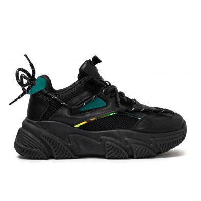 Γυναικεία μαύρα Chunky sneakers με δίχτυ it110221-9 2